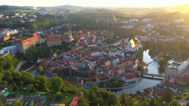 aerial drone movie sunrise scene old town of cesky krumlov,  south bohemia, czech republic - river vltava stock videos & royalty-free footage