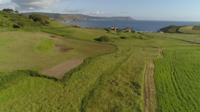 vídeos de stock e filmes b-roll de aerial: drone moving over scenic green farmland approaching sea against blue sky on sunny day - galicia, spain - cidade pequena
