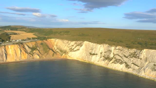 Aerial Drone Needles UK coastline Famous sea tourism