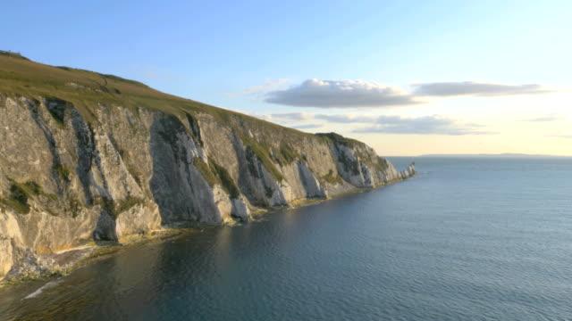 Aerial Drone Needles UK Lighthouse coastline sea tourism