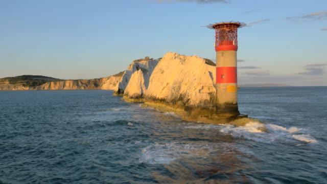 Aerial Drone Needles UK Lighthouse travel sea tourism