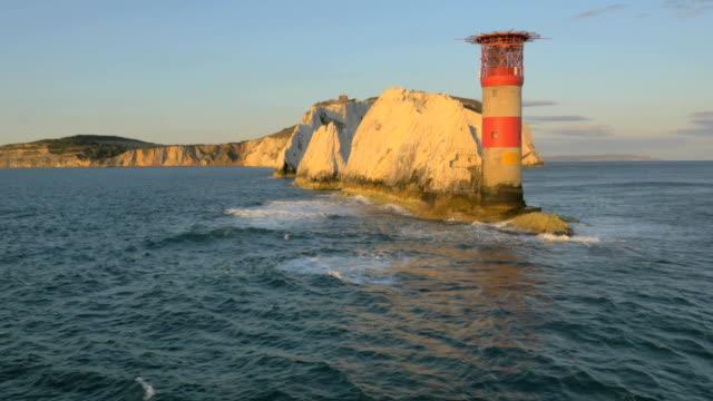 Aerial Drone Needles UK sea Helipad tourism