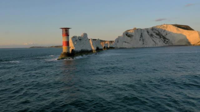 Aerial Drone Needles UK sea sunset Helipad tourism