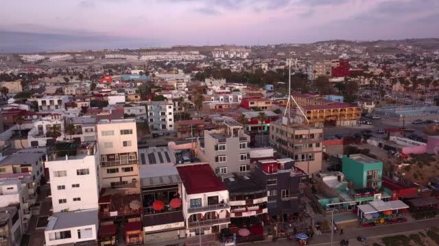 aerial drone ocean view of laplaya tijuana, beachfront, city and the boardwalk in tijuana, mexico - baja california norte stock videos & royalty-free footage