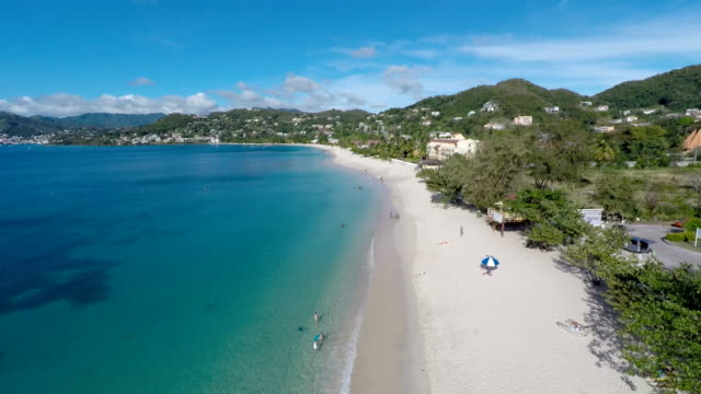 aerial drone of beach in grenada - カリブ点の映像素材/bロール