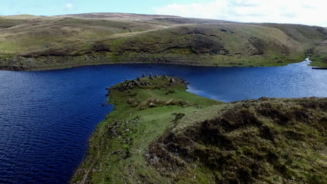 aerial drone of natural irish peninsula - peninsula stock videos and b-roll footage
