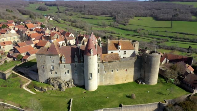 aerial drone  panoramic view of chateau-neuf village in burgundy, france - castle stock videos & royalty-free footage
