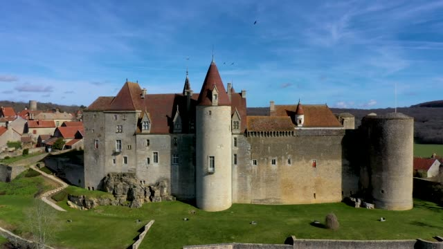 aerial drone  panoramic view of chateau-neuf village in burgundy, france - hd format stock-videos und b-roll-filmmaterial