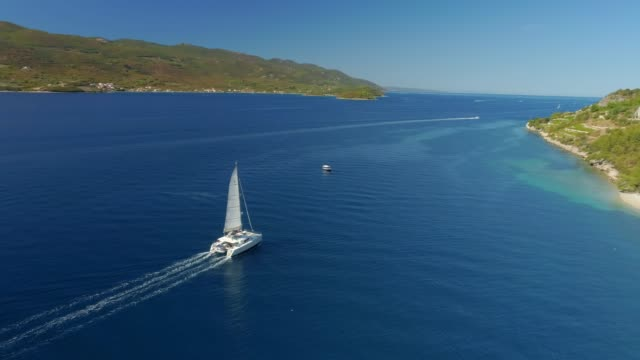 4k aerial drone point of view catamaran on sunny blue ocean - sailing stock videos & royalty-free footage