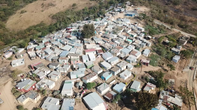 aerial drone point of view of banana city township in durban south africa - kwazulu natal stock videos & royalty-free footage