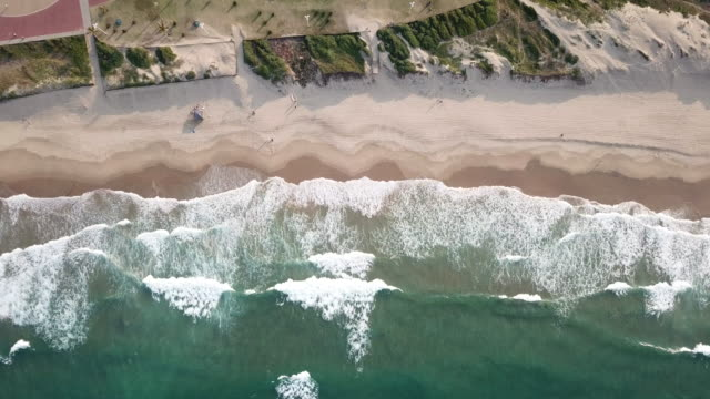 aerial drone point of view of north beach in durban south africa - durban stock videos & royalty-free footage