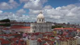 Aerial drone rotating shot of a church in Lisbon