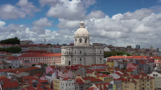 aerial drone rotating shot of a church in lisbon - lisbon stock videos and b-roll footage