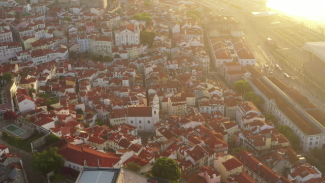 aerial drone rotating shot of a church in lisbon - lisbon stock videos & royalty-free footage