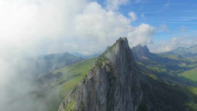 aerial drone scenic mountain view. - schweiz stock-videos und b-roll-filmmaterial