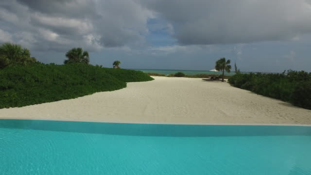 Aerial drone shot from villa to out to sea /  Provodenciales, Turks and Caicos Islands