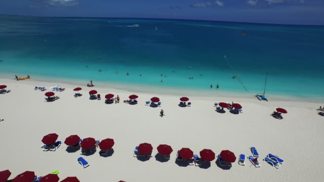 Aerial drone shot looking out to sea from the beach / Provodenciales, Turks and Caicos Islands