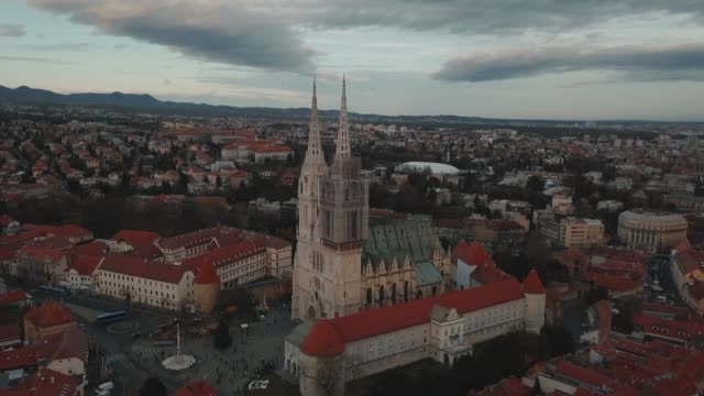 aerial drone shot of a church in zagreb city center, croatia - zagreb stock videos & royalty-free footage
