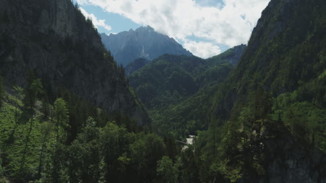 aerial drone shot of a forest mountain with clouds - austria stock videos & royalty-free footage