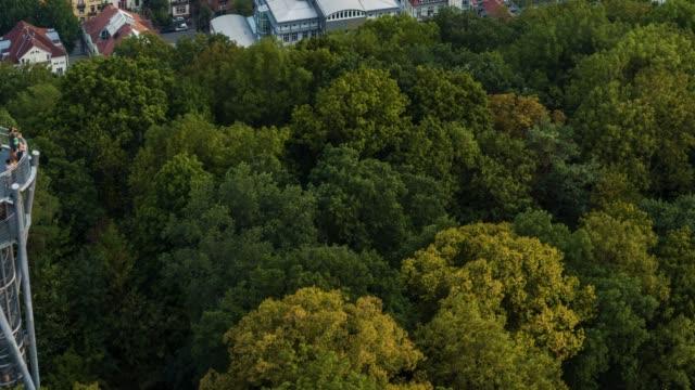 フライブルク付近の丘の上の展望台の空中ドローンショット - ドイツ点の映像素材/bロール