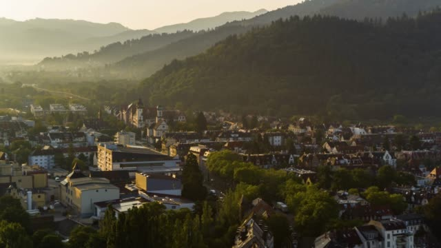 aerial drone shot of an old town near freiburg - germany stock videos & royalty-free footage