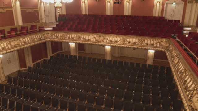 aerial drone shot of empty seats in the ravensburg konzerthaus - auditorium stock videos & royalty-free footage