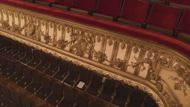 aerial drone shot of empty seats in the ravensburg konzerthaus - concert hall stock videos & royalty-free footage