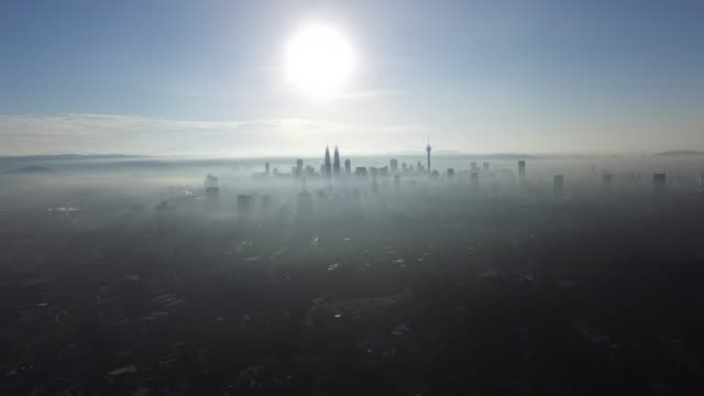 Aerial drone shot of Kuala Lumpur city