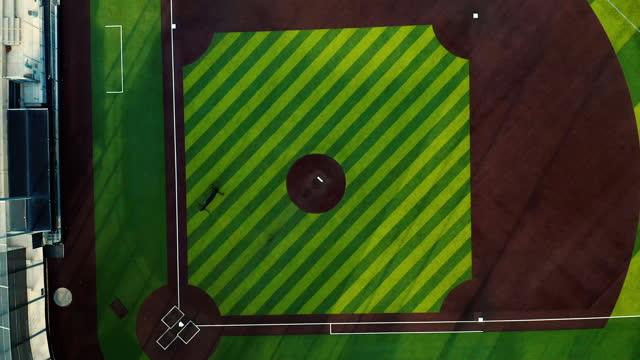 aerial drone shot of public baseball field - baseball diamond stock videos & royalty-free footage