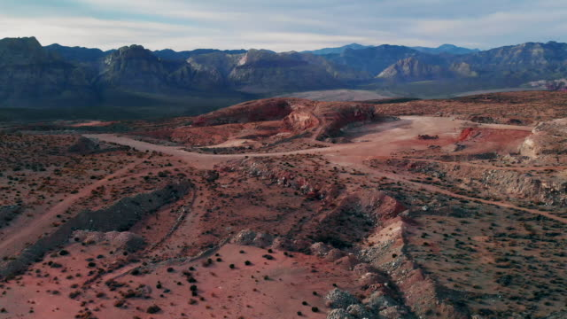 aerial drone shot of red rock canyon national conservation area and quarry next to las vegas, nevada - red rocks stock videos and b-roll footage