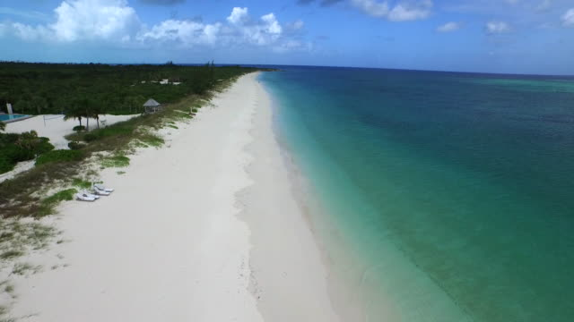 Aerial drone shot of the beach coastline / Provodenciales, Turks and Caicos Islands