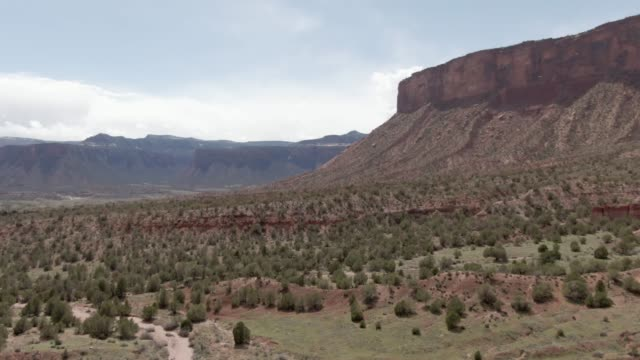 aerial drone shot of the high desert cliffs and valley outside gateway in western colorado under a sunny sky - west direction stock videos & royalty-free footage