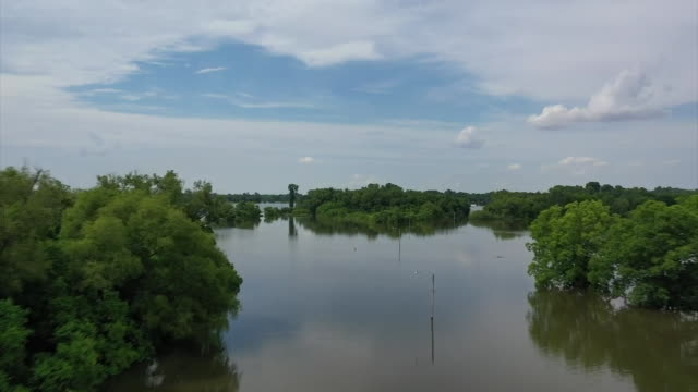 stockvideo's en b-roll-footage met aerial drone shot over a flooded roadway outside of jefferson county regional park in pine bluff arkansas - environment or natural disaster or climate change or earthquake or hurricane or extreme weather or oil spill or volcano or tornado or flooding
