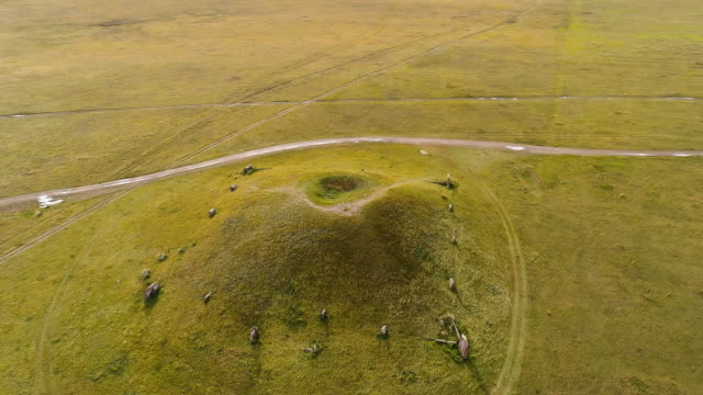 Aerial drone shot over mounds. Panoramic view. Republic of Khakassia, Russia.