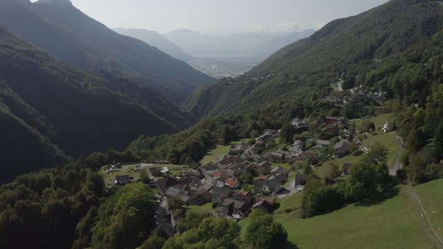 aerial drone shots of ticino landscapes at sunset - switzerland stock videos & royalty-free footage