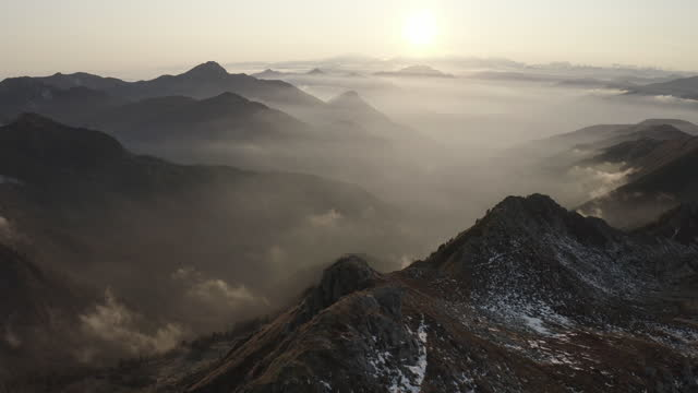 aerial drone shots of ticino landscapes at sunset - geografische lage stock-videos und b-roll-filmmaterial