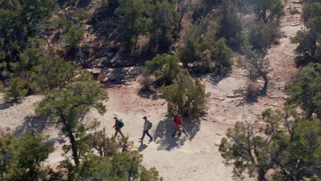 aerial drone show of a group of three people hiking along a dirt trail in the high desert of western colorado on a sunny day - dry stock videos & royalty-free footage