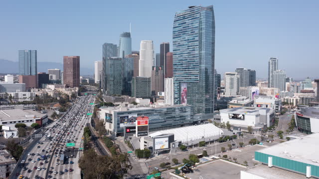 aerial drone timelapse hyperlapse of downtown los angeles - aerial stock videos & royalty-free footage
