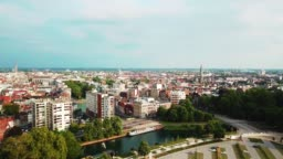 Aerial drone video, Lille city from the citadel park. 4K