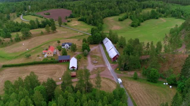 aerial: drone video of camper van on road amidst houses - smaland, sweden - schweden stock-videos und b-roll-filmmaterial