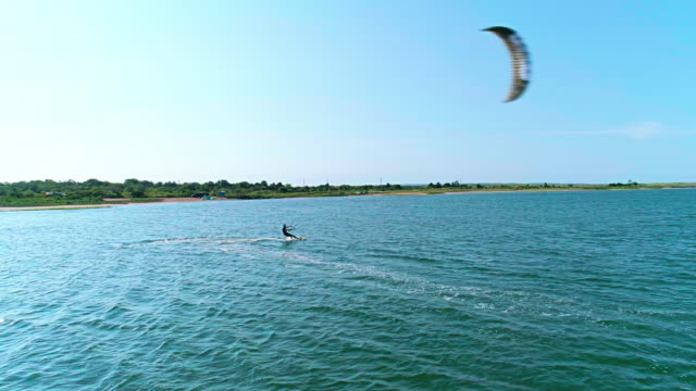 Aerial drone video of kiteboarding at Lazy Point Bay in Napeague, Suffolk County, Long Island, New York State, USA