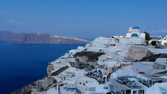 vídeos de stock e filmes b-roll de aerial drone video of santorini volcanic island on a summer, , greece - greece