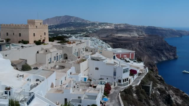 aerial drone video of santorini volcanic island on a summer, , greece - santorini stock videos & royalty-free footage