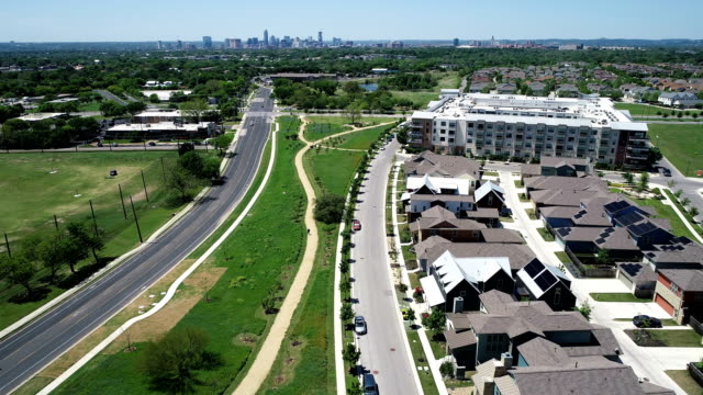 Aerial Drone View above East Austin , Texas , USA high above Solar Panel Suburb Community