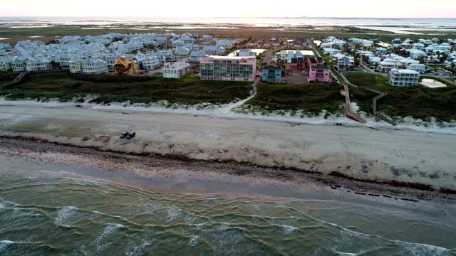 aerial drone view above padre island texas paradise beach vacation drone view - corpus christi texas stock videos & royalty-free footage
