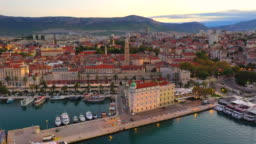 Aerial Drone view bell tower of Cathedral of Saint Duje and Old City of Split on Adriatic coast, Split, Croatia