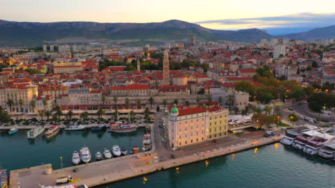 aerial drone view bell tower of cathedral of saint duje and old city of split on adriatic coast, split, croatia - aircraft point of view stock videos & royalty-free footage