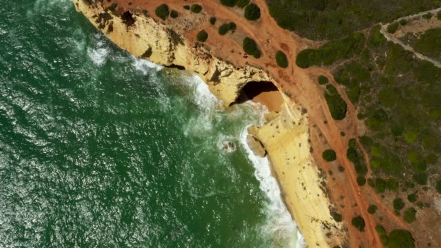 aerial drone view cliffs, beaches and atlantic ocean - roccia video stock e b–roll