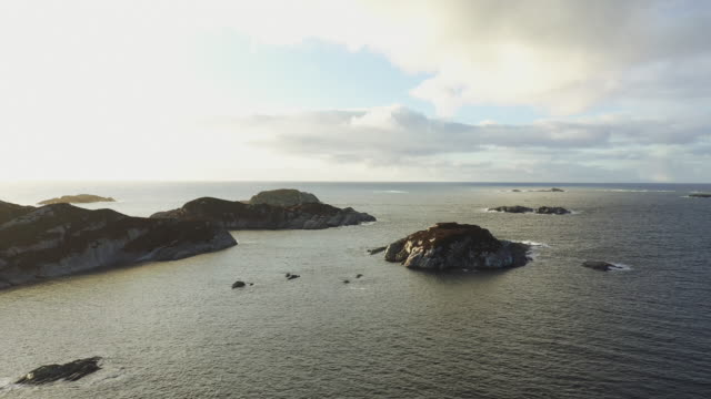 aerial drone view: flying over coasts of bergen, in the north sea - norwegian sea stock videos & royalty-free footage