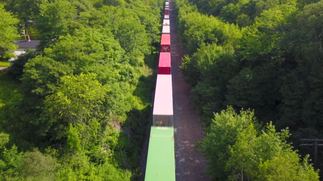 aerial drone view: freight train - locomotive stock videos & royalty-free footage